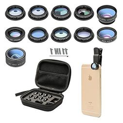 11 in 1 Cell Phone Camera Lens Kit Wide Angle Lens & Macro L