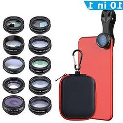 Apexel 10 in 1 Cell Phone Camera Lens Kit Wide Angle Lens &
