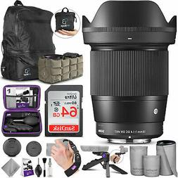 Sigma 16mm F1.4 DC DN Contemporary Lens for Sony E Mount wit
