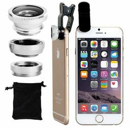 3 in 1 Wide Angle+Fish Eye+Macro Clip On Camera Lens For Uni