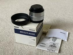 Sigma 30mm f/2.8 DN Lens for Sony E-mount Cameras Silver, Ex