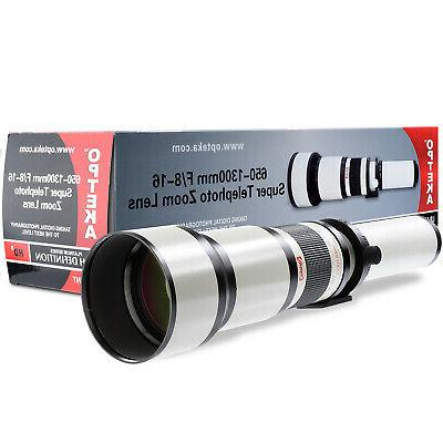 650 1300mm telephoto zoom lens for canon