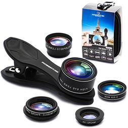 Phone Camera Lens 5 in 1 Kit, 2XTelephoto Zoom Lens+198°Fis