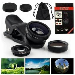 Universal 3in1 Wide Angle+Fish Eye+Macro Clip On Camera Lens