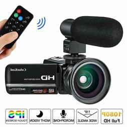 Video Camera Camcorder with Microphone Remote Control Wide A
